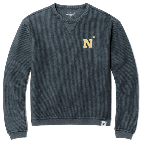 Navy Midshipmen Unisex Denim Timber Crew Corded Sweatshirt