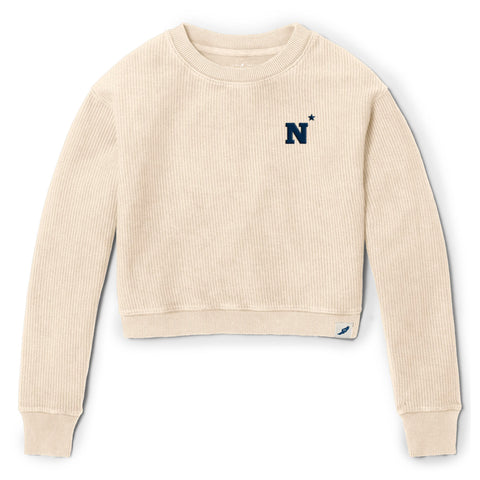 Navy Midshipmen Women's Vanilla Timber Crop Crew
