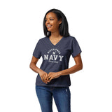 Navy Midshipmen Women's Heather Navy Intramural Boyfriend V Tee