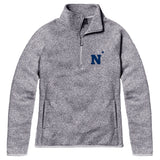 Navy Midshipmen Women's Heather Grey Saranac 1/4 Zip Sweater