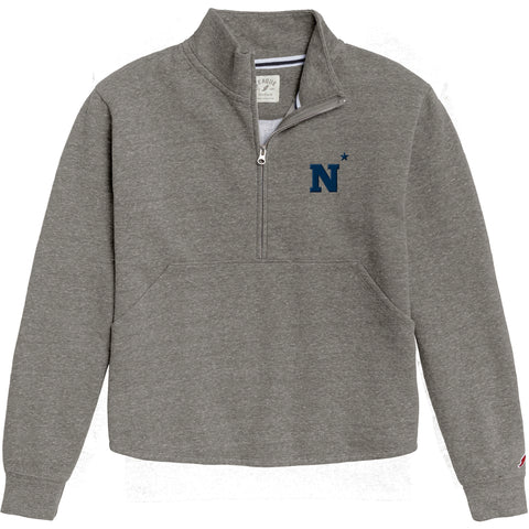 Navy Midshipmen Women's Heather Grey Victory Springs Half Zip Pullover