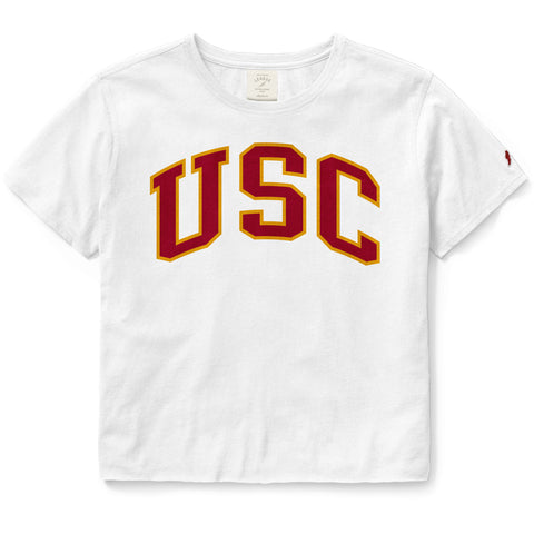 USC Trojans Women's White Clothesline Cotton Crop Tee