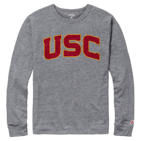 USC Trojans Men's Heather Grey Victory Falls Long Sleeve Tee