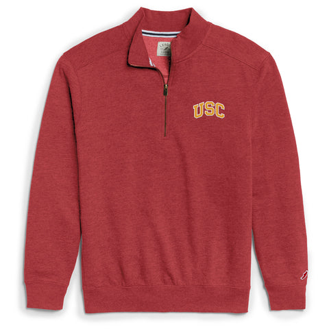 USC Trojans Men's Heather Cardinal Heritage 1/4 Zip Sweatshirt