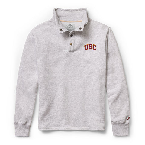 USC Trojans Men's Ash Grey 1636 Snap Up Sweatshirt