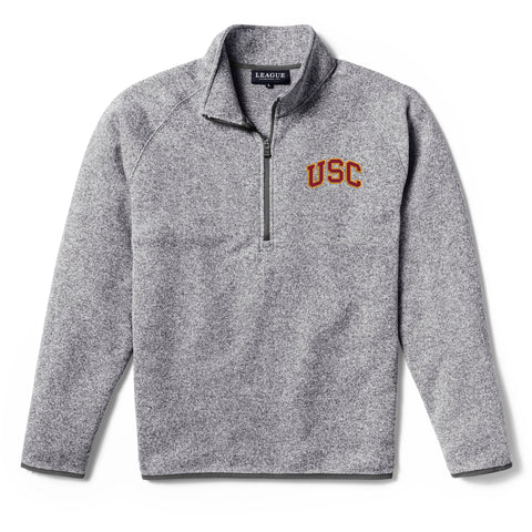 USC Trojans Men's Heather Grey Saranac 1/4 Zip Sweater