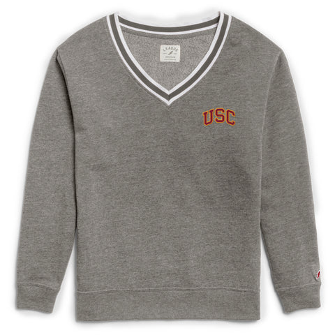 USC Trojans Women's Heather Grey Victory Springs V Crew