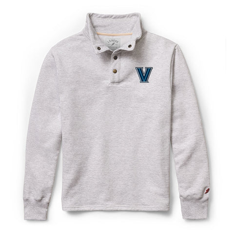 Villanova Wildcats Men's Ash Grey 1636 Snap Up Sweatshirt