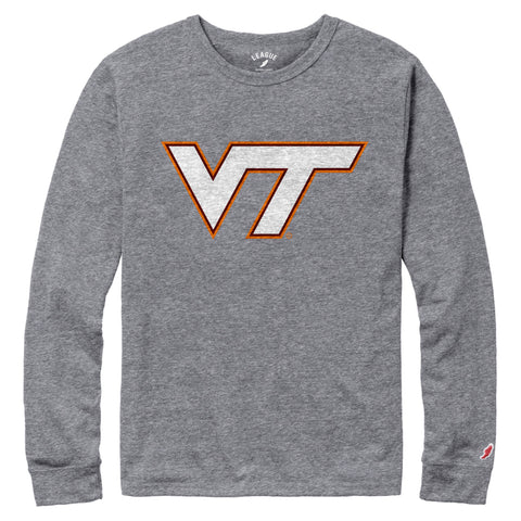 Virginia Tech Hokies Men's Heather Grey Victory Falls Long Sleeve Tee
