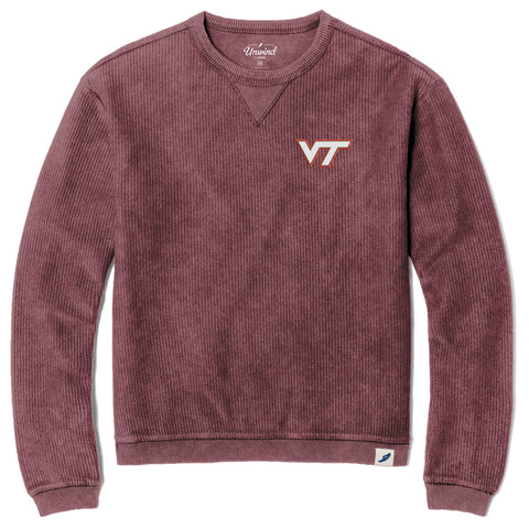 Virginia Tech Hokies Unisex Maroon Timber Crew Corded Sweatshirt