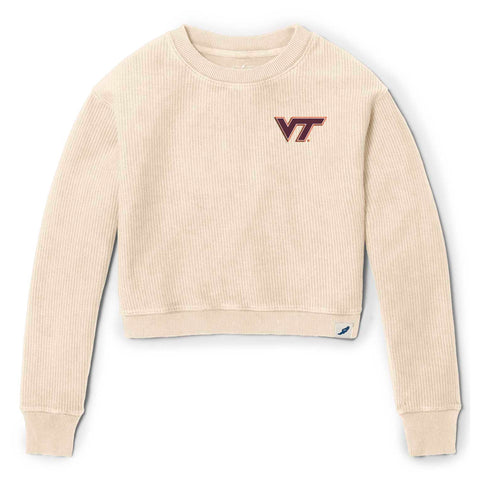 Virginia Tech Hokies Women's Vanilla Timber Crop Crew