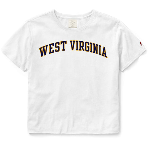 West Virginia Mountaineers Women's White Clothesline Cotton Crop Tee