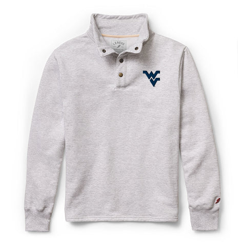 West Virginia Mountaineers Men's Ash Grey 1636 Snap Up Sweatshirt