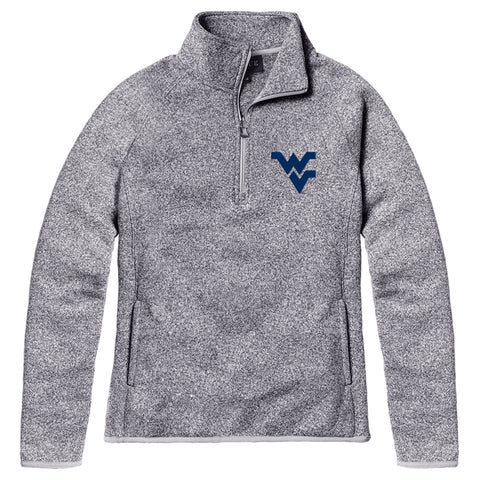 West Virginia Mountaineers Women's Heather Grey Saranac 1/4 Zip Sweater