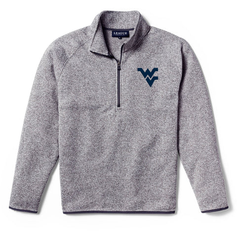 West Virginia Mountaineers Men's Heather Grey Saranac 1/4 Zip Sweater