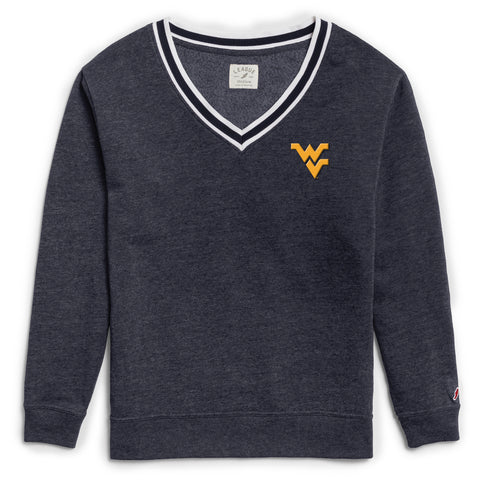 West Virginia Mountaineers Women's Heather Navy Victory Springs V Crew