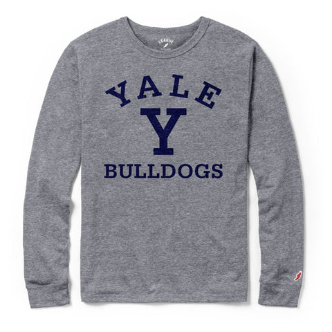 Yale University Bulldogs Men's Heather Gray Victory Falls Long Sleeve Tee