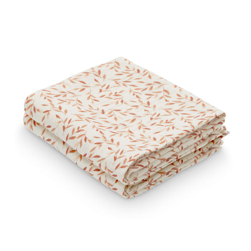 Muslin Cloth, 2-pack - GOTS Caramel Leaves