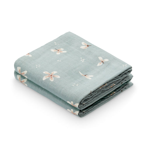 Muslin Cloth, 2-pack - GOTS Windflower Blue