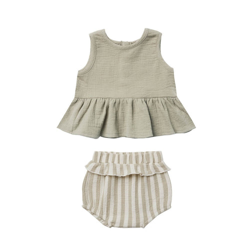 Sleeveless Peplum Set | sage stripe