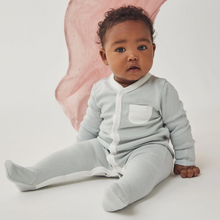 Load image into Gallery viewer, Front-Opening Sleepsuit - Grey Stripe