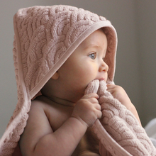 Load image into Gallery viewer, Baby Towel Hooded - GOTS Blossom Pink