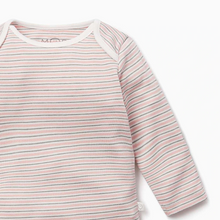 Load image into Gallery viewer, Blush & Khaki Stripe Long Sleeve Bodysuit