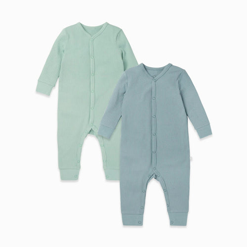Ribbed Front Opening Sleepsuit 2 Pack Sky/Mint