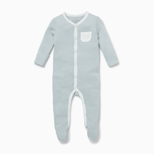 Front-Opening Sleepsuit - Blue Stripe