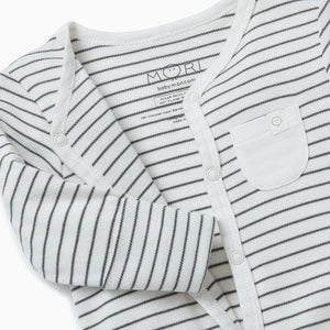 Front-Opening Sleepsuit - Grey Stripe
