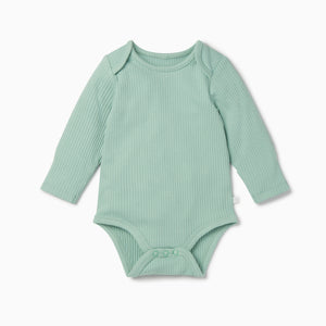 Ribbed Long Sleeve Bodysuit 2 Pack Blue/Mint