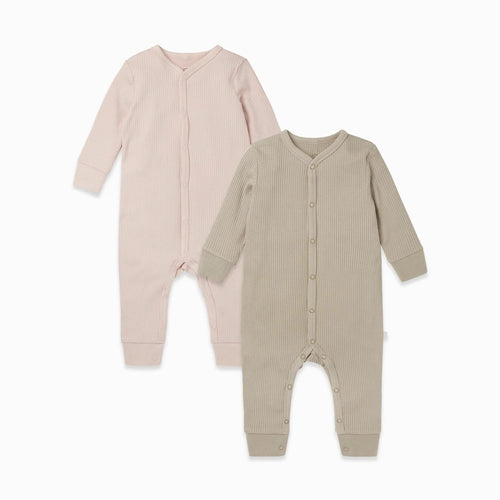 Ribbed Front Opening Sleepsuit 2 Pack Blush/Biscuit