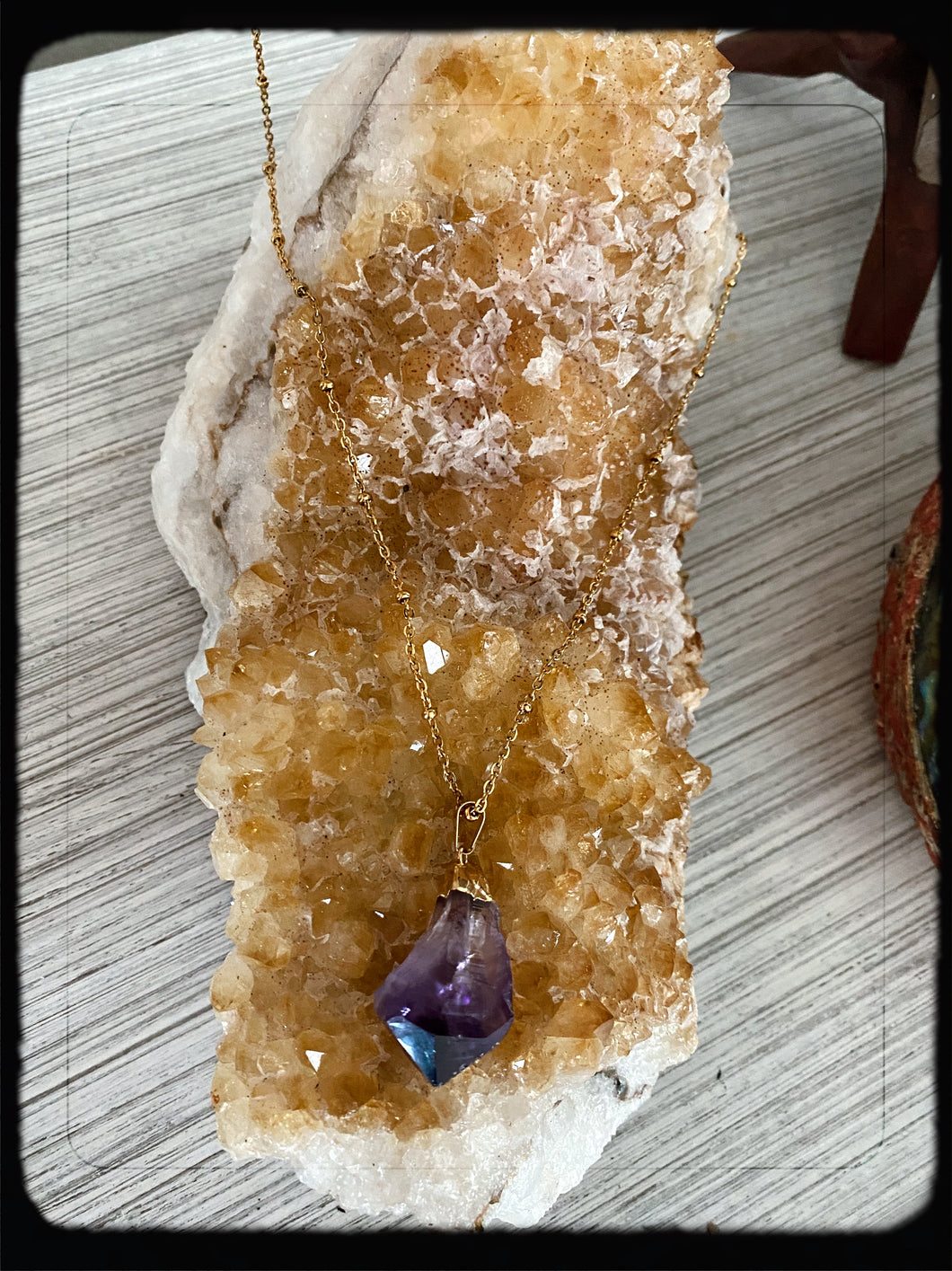 Gold Amethyst Natural Edge Necklace