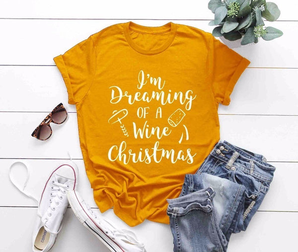 Aldorina Christmas T-shirt Dreaming of a Wine Christmas