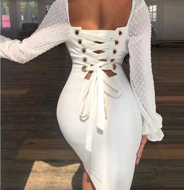 Aldorina Splicing Lace-Up Back Bodycon Dress