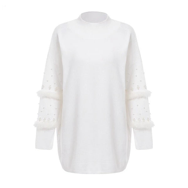 Aldorina Winter Pearl Fur Long Sleeve Knitted Sweater