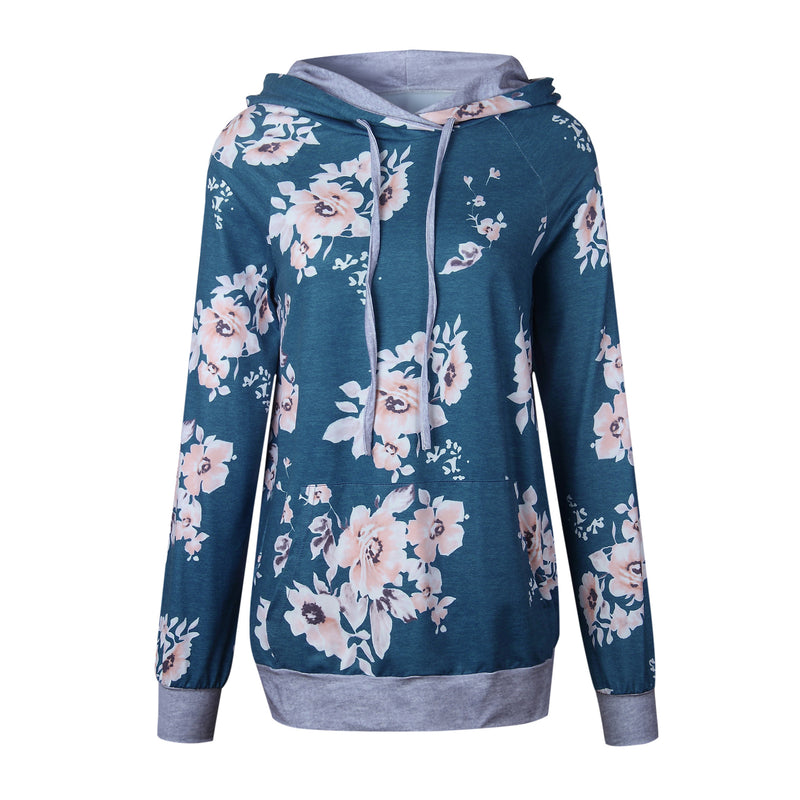 Aldorina Autumn Print Floral Hooded  Long Sleeve Hoodies