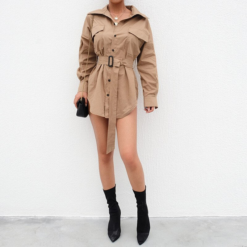 Aldorina Autumn Casual Dress-Trench