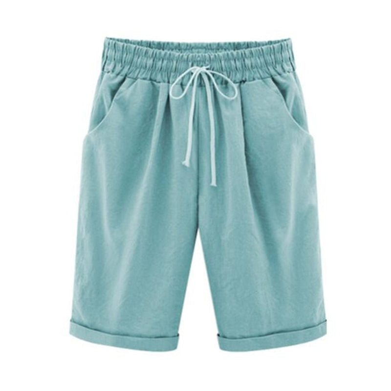 Aldorina Plus Size Summer Cotton Linen Colours Shorts