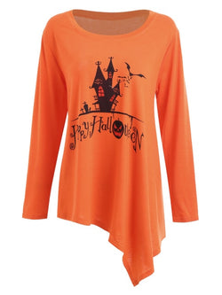 Aldorina  Halloween Plus Size Asymmetric T-Shirts