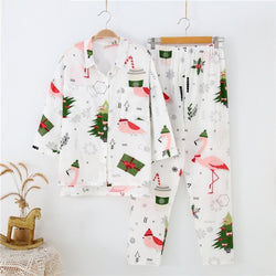 Aldorina Christmas Tree Printed  Cotton Pajama Set