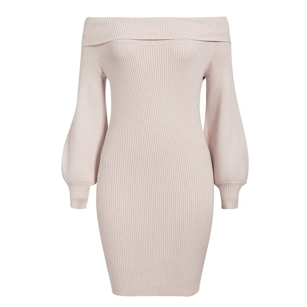 Aldorina Autumn Knitted Off Shoulder Bodycon Dress