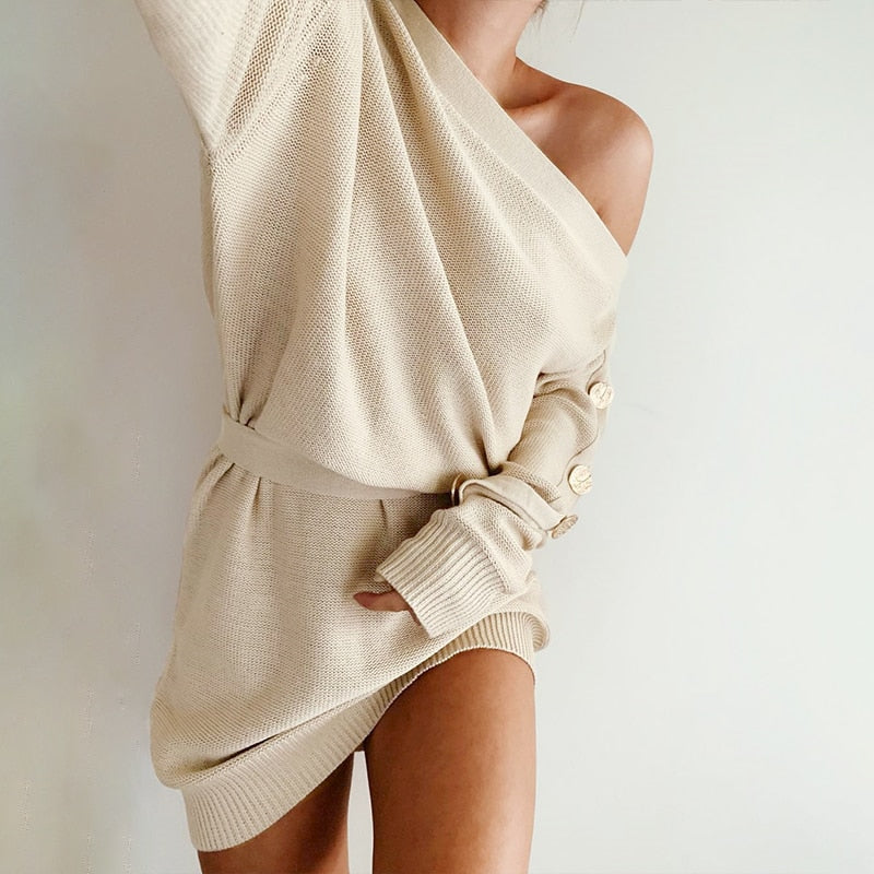 Aldorina One Shoulder Knitted Dress-Sweater