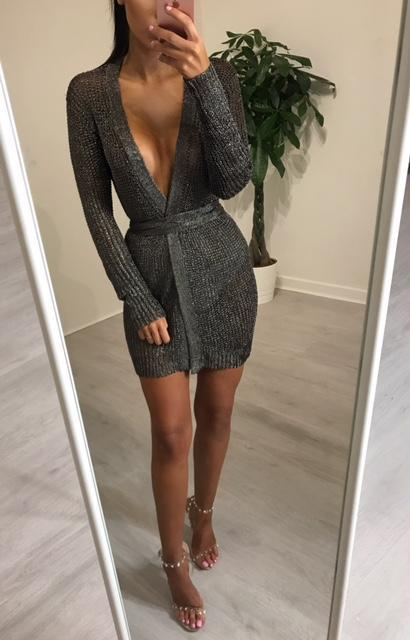 Aldorina Knitted  Long Sleeve Party Dress-Cardigan