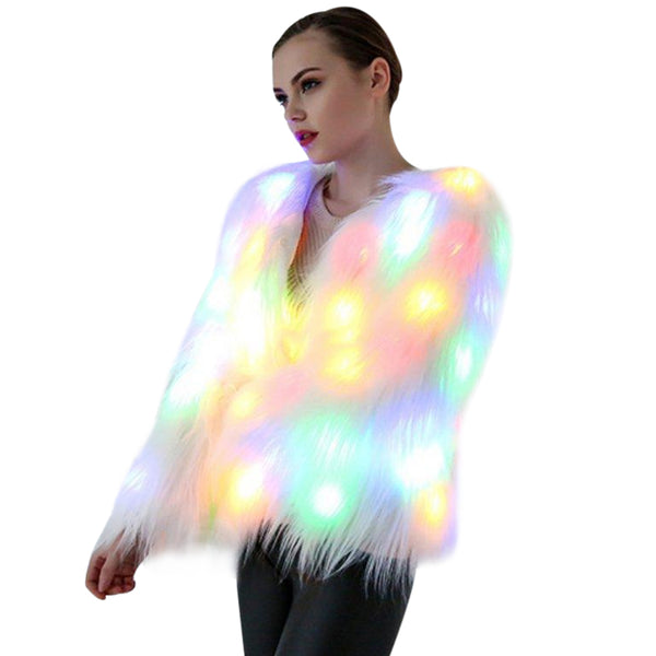 Aldorina Plus Size Christmas LED Light Faux Fur Coat