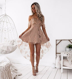 Aldorina Sexy Shoulder Off Mesh Lace Party Dress