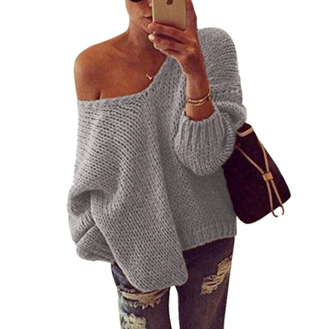Aldorina Autumn Winter One Shoulder Sweaters