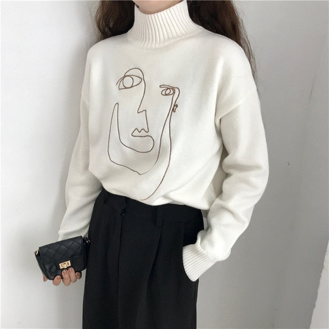 Aldorina One Size Autumn Winter Geometric Face Turtleneck