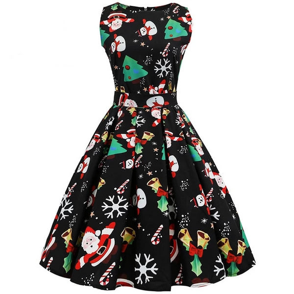 Aldorina Christmas Vintage Sleeveless Dress