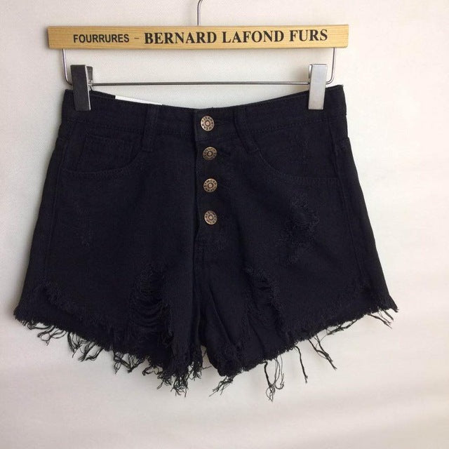 Aldorina Summer High Waist Denim Hole Jeans Shorts